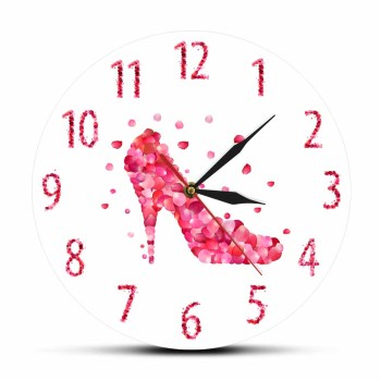 Pink Rose Petal Style High Heels Shoe Silent Wall Clock Pink Fashion Wall Art Woman Bedroom Girly Home Decor Hanging Wall Watch image