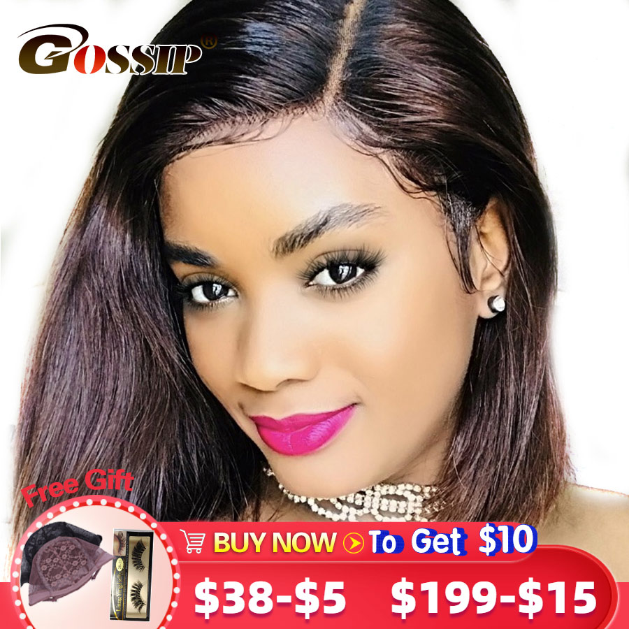 Gossip Remy Hair Wig Bob Wig 13x6 Lace Parting Area Indian Straight Hair Lace Front Wig Short Human Hair Wigs For Black Women