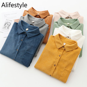 Women Long Sleeve Women'S Corduroy Shirt Blouse Casual Loose Blouses Button Down Up Tunic Ladies Tops 2020 New Autumn Fashion