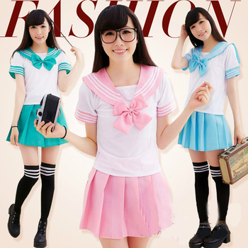 Japanese School Uniform For Girls Sailor Tops+Skirt Navy Style Students Clothes For Girl Plus size Lala Cheerleader clothing japanese school uniforms anime cos sailor suit tops bow tie skirt jk navy style students clothes for girl short sleeve