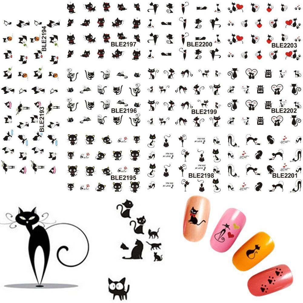 Наклейки для дизайна ногтей в виде черного милого кота