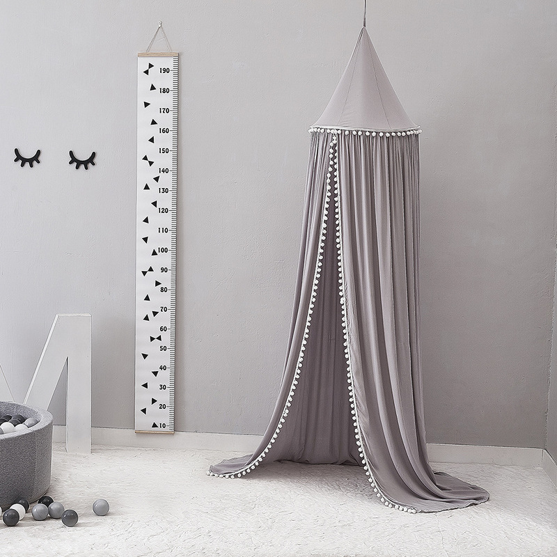 Image 5 - Cotton Baby Room Decoration Balls Mosquito Net Kids Bed Curtain  Canopy Round Crib Netting Tent Photography Props Baldachin  245cmMosquito Net
