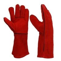 Big deal Schweißen Handschuhe Wärme/Feuer Beständig  perfekt Für Schweißer/Backofen/Kamin/Tier Handhabung/Bbq Handschuhe 14 Zoll-in Lötstationen aus Werkzeug bei
