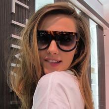 Flat Top Pilot Sunglasses Women Gradient Shield Black Oversi