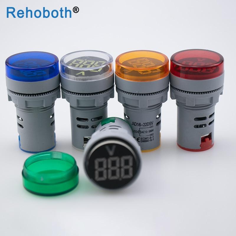 1pcs 22MM AC12-500V LED Voltmeter Voltage Meter Indicator Pilot Light Red Yellow Green White Blue