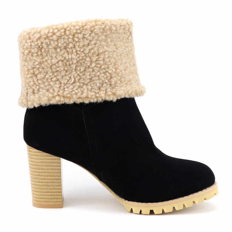 Morazora 2020 Plus Size 48 Vrouwen Enkellaars Flock Ronde Neus Dikke Vacht Sneeuw Laarzen Vintage Hoge Hakken Winter Schoenen vrouwelijke