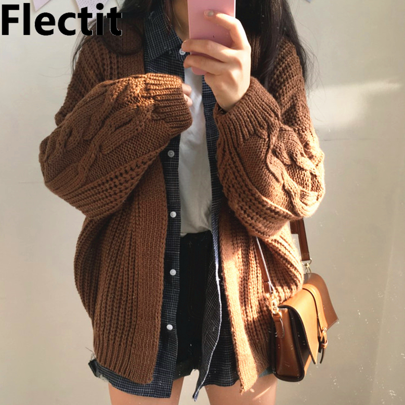Flectit Chunky Cable-Knit Open Cardigans Korean Fashion Cardigan Sweater Womens Winter Outfit *