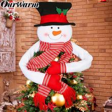 OurWarm Big Snowman Christmas Tree Topper with Scarf Hat Xmas Trees Ornament New Year Party Gifts Decorations