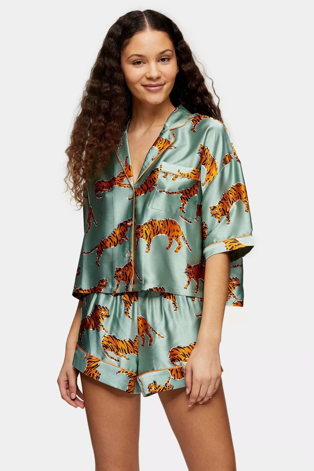 2020 Summer New Lapel Animal Zaraing Sheining Vadiming Women Female Blouse Shirt And Shorts Suit Elastic Waist Wd87228