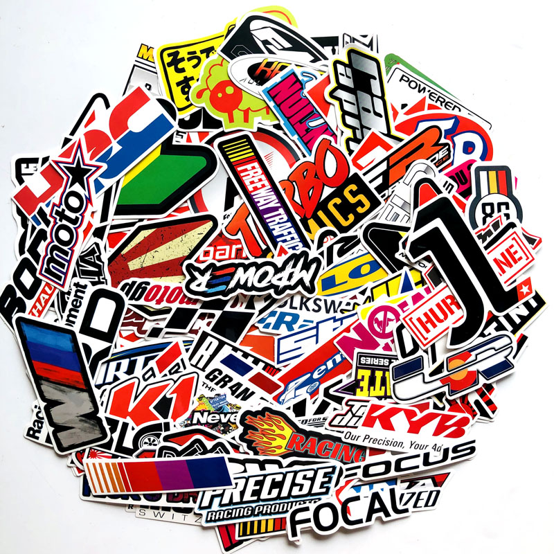 100PCS Racing Car Stickers Car StylingWaterproof Sticker Motocross Racing Helmet Skateboard Bicycle Laptop JDM Car Accessories