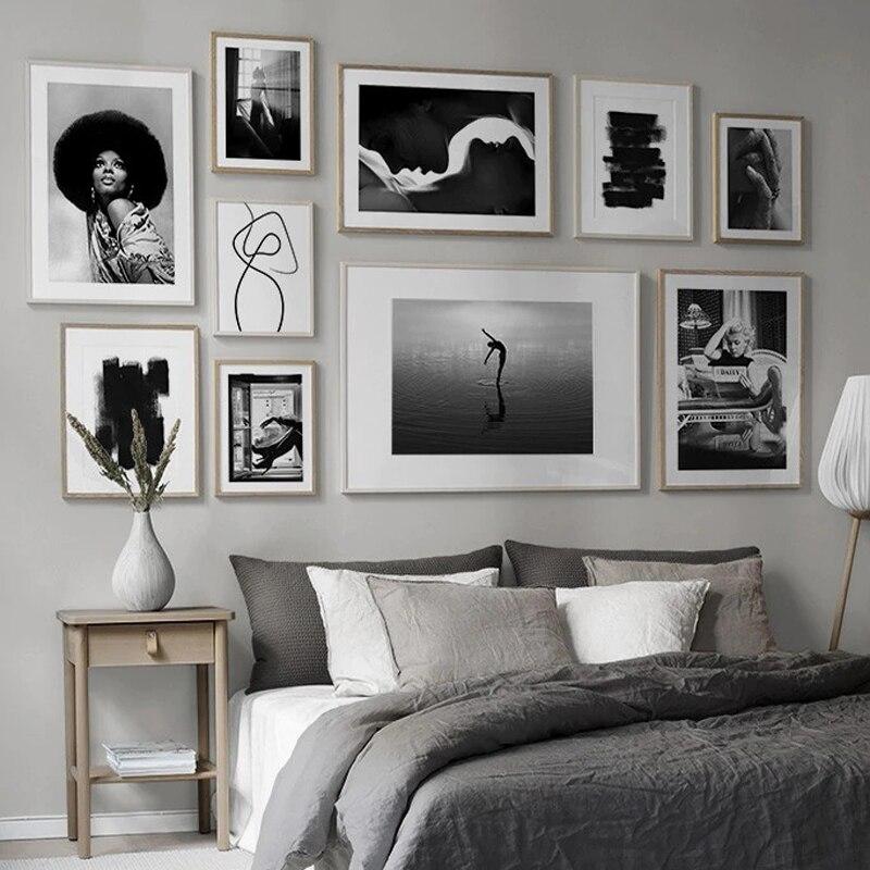 Nórdico moda sexy mulher arte da lona pintura cartazes e cópias preto branco carta incrível fotos de parede para sala estar decoração Pintura e Caligrafia    -