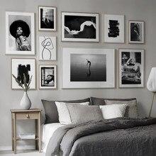 Nórdico moda sexy mulher arte da lona pintura cartazes e cópias preto branco carta incrível fotos de parede para sala estar decoração