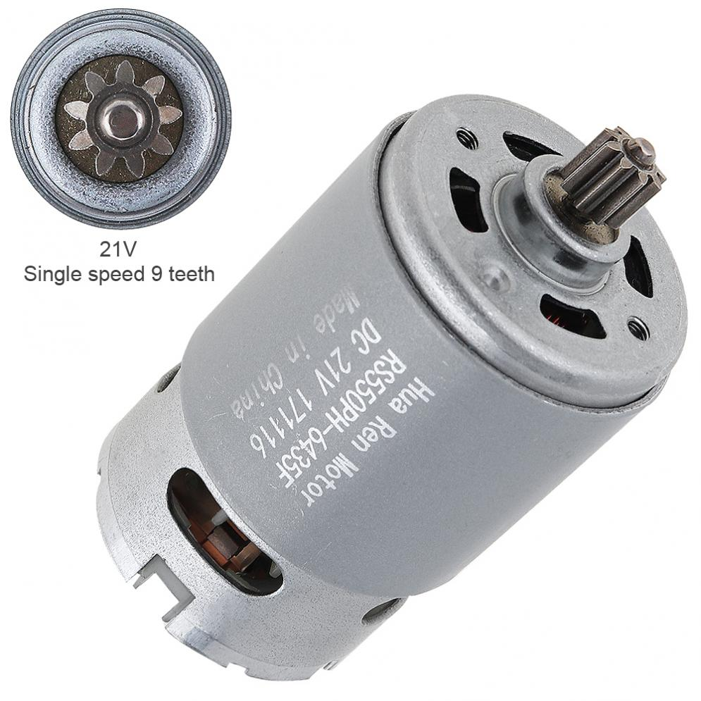 RS550 21V 19500 RPM DC Motor with Single Speed 9 Teeth and High Torque Gear Box for Electric Drill /Screwdriver image