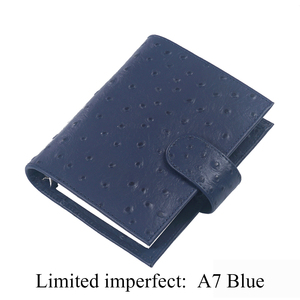 Image 2 - Limited Imperfect Ostrich Grain Leather Notebook A7 Rings Binder Mini Agenda Organizer Cowhide Diary Journal Sketchbook Planner