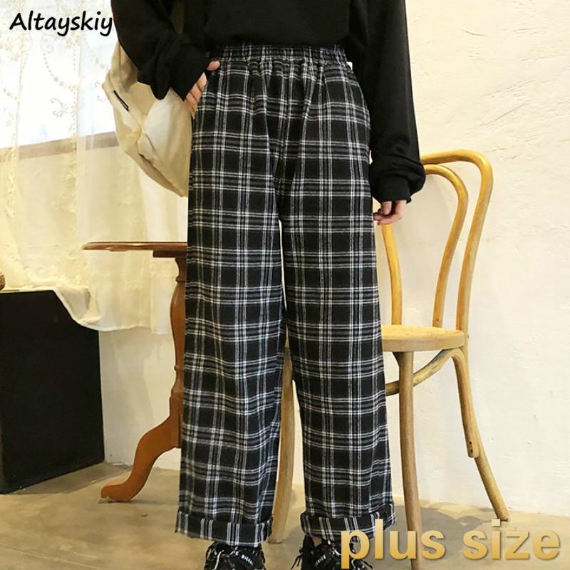 Pants Women Plus Size Wide Leg Plaid Loose Pockets Elastic Waist Long Simple Korean Chic Trendy BF Ulzzang Daily Womens New Soft