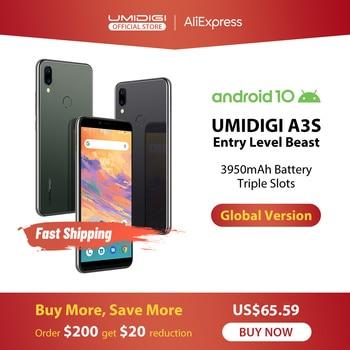 UMIDIGI A3S Android 10 Global Band 3950mAh Dual Rear Camera  5.7 Smartphone 13MP Selfie Triple Slots Dual 4G VoLTE Celular