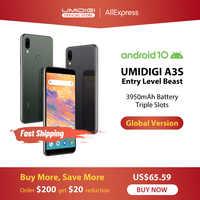 """Umidigi a3s android 10 banda global 3950 mah câmera traseira dupla 5.7 """"smartphones 13mp selfie triplo slots duplo 4g volte celular"""