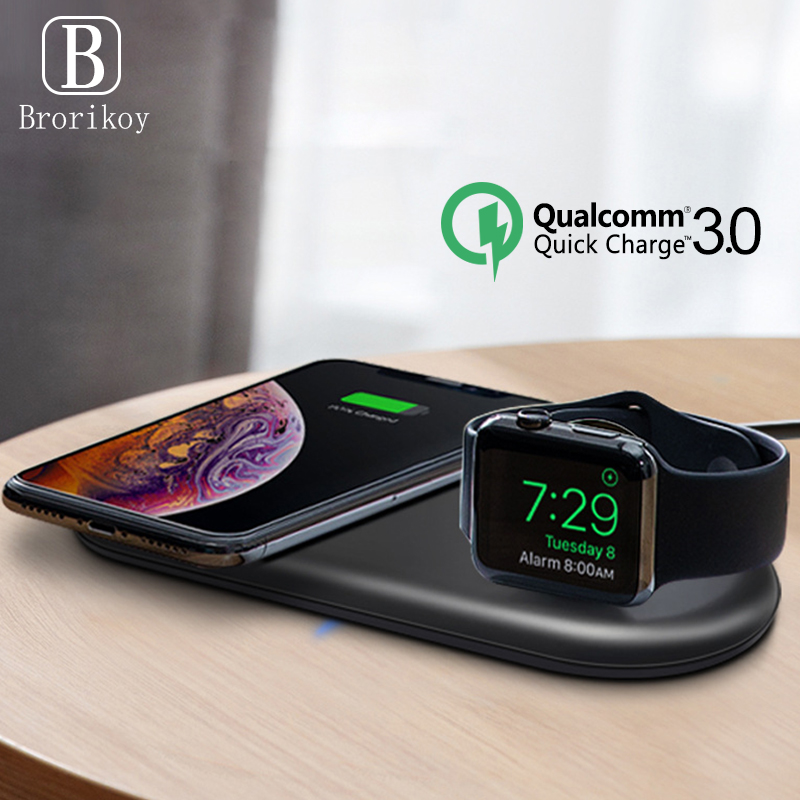Qi Wireless Charger Pad 2W Magnetic Watch Charging for Apple iWatch 5 4 3 2 1 QC3.0 Quick Charge for iPhone 11 Pro Xs Max X 8