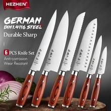 HEZHEN 1-6PC Knife Set Pakka Wood Handle  & German DIN 1.4116 Stainless Steel Rivet Beautiful Gift Box Kitchen Cook Knives Tool