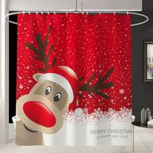 цена на Merry Christmas Santa Claus Christmas Tree Printed Shower Curtain Bathroom Curtain cortina ducha bath curtain With Hooks Gift