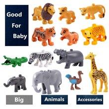 Модель животных строительные блоки аксессуары детские игрушки Сделай Сам Совместимость с Duploe набор животных корова Жираф Блок Наборы кубиков подарки