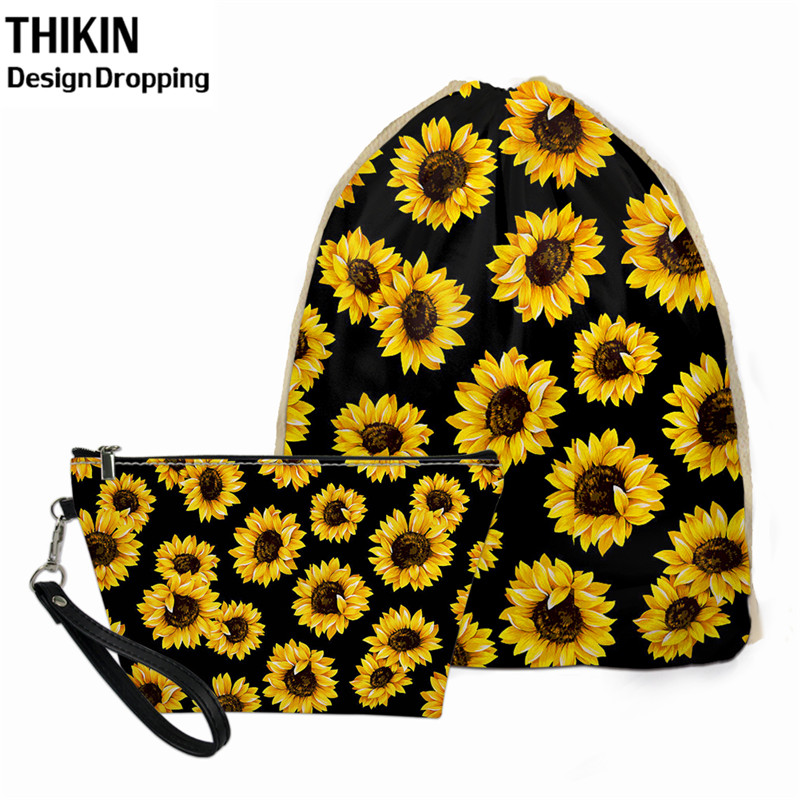 THIKIN 2pcs Women Travel Drawstring Bag Beauty Sunflower Design Cosmetic Box Small Mochilas Storage Dust-proof Bags For Kids