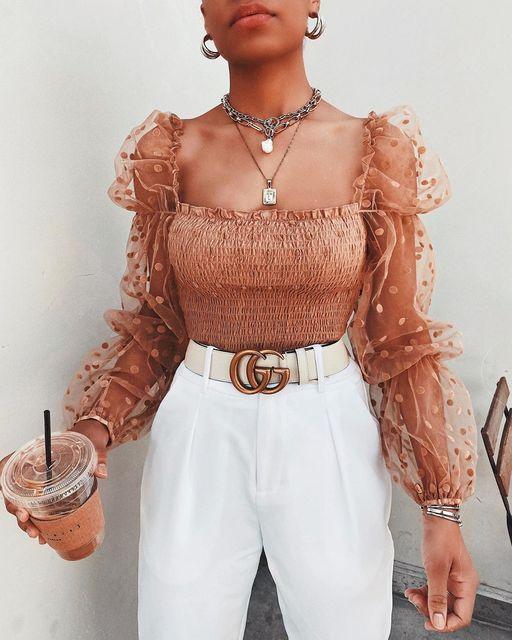 Women Mesh Sheer Blouse Chiffon See-through Long Sleeve Top Shirt Blouse Fashion Organza Transparent White Shirt Female Blusas 2