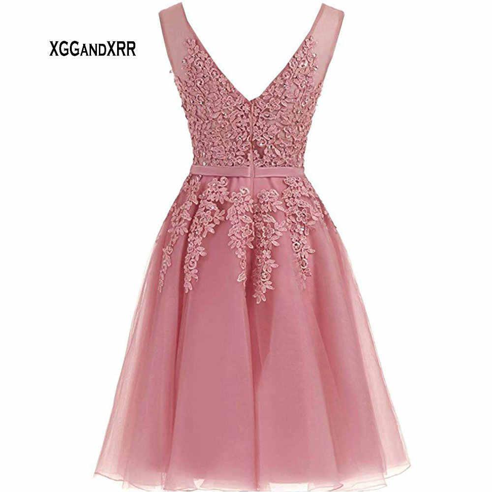 Sexy v neck curto laço rosa vestido de baile v sem costas azul curto vestido de baile mini vestido de festa de formatura vestido de formatura