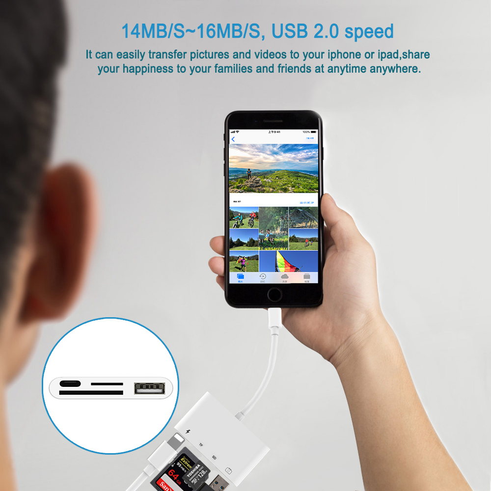Image 3 - 4 in 1 SD TF Card Camera Connection Kits for Lightning to USB Camera Reader adapter OTG Cable for iphone x 8 8plus for ipad Air