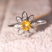 Trendy Exquisite Cute Sunflower Rings Yellow CZ Zirocn Stone