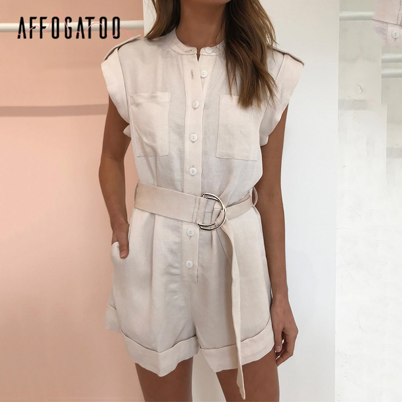 Affogato Casual Elegant Sash Belt Women Playsuit Sleeveless Buttons Pockets Female Rompers Jumpsuit Spring Summer Ladies Overall