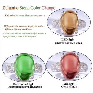 Image 5 - Kuololit Zultanite חן טבעות לנשים מוצק 925 כסף סטרלינג צבע שינוי סגלגל Diaspore אבן אירוסין תכשיטים