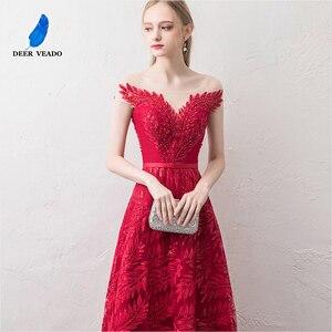 Image 5 - DEERVEADO קצר שרוולים ערב שמלות ארוך אישה אירוע מסיבת שמלות רשמיות שמלת ערב שמלת חלוק דה Soiree XYG822
