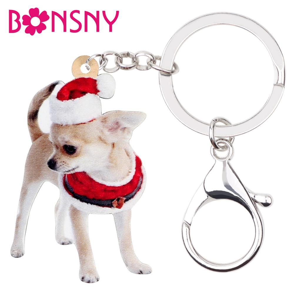 Bonsny Acrylic Christmas Chihuahua Dog Key Chains Key Rings Women Girls Charm Gift Bag Car Wallet Keychains Hot Sale Accessories