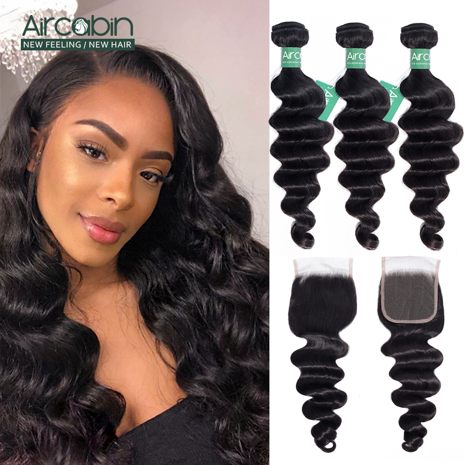 Aircabin 3 / 4 Brazilian Loose Deep Wave Bundles With Closure 100% Remy Human Hair Weave Bundles With Lace Closure Can Be Dyed