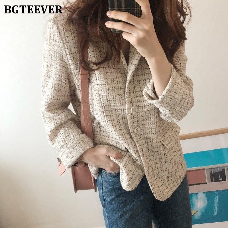 BGTEEVER Elegant Plaid Women Blazer Jacket Pockets Office Ladies Suit Jacket Spring Female Outwear Blaser Femininas 2020