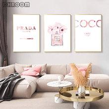 Модная Картина на холсте розовые духи пионы постеры и принты