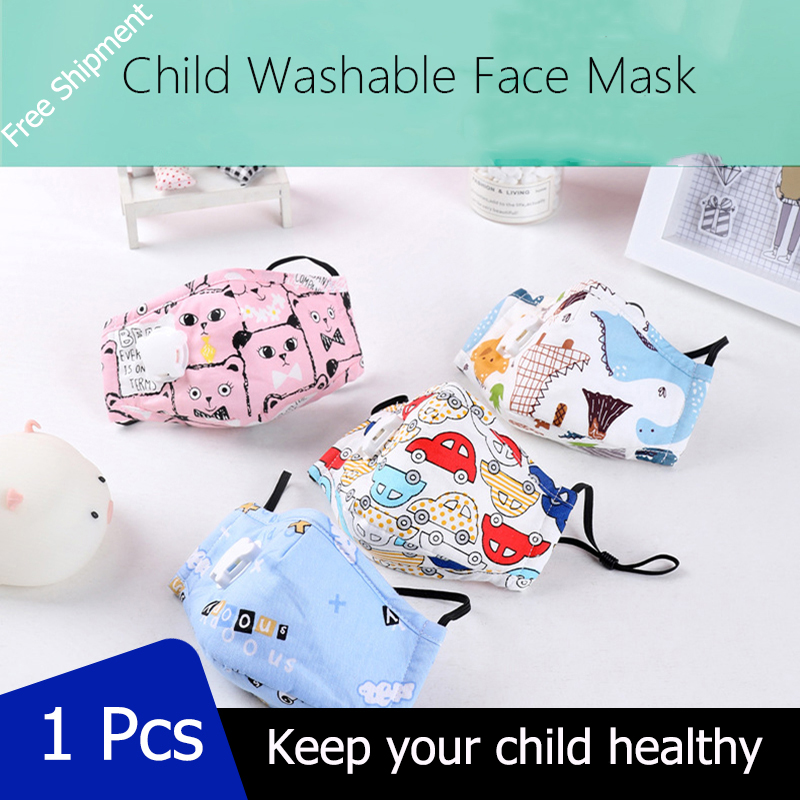 1 PCS 8 Plys Children Protect Face Mask AntiPM2.5 Reusable Breathing Valve Mask With Filter Adjustable Earloop For Any Head Size