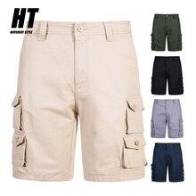 Khaki Cargo Shorts Men 2021 Summer Baggy Multi Pocket Solid Men's Shorts Army Military Tactical Casual Short Man Plus Size 28-38