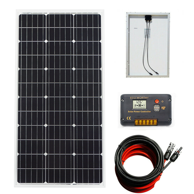 100W 18V Mono Solar Panel Battery Charging and 20A Charge Controller