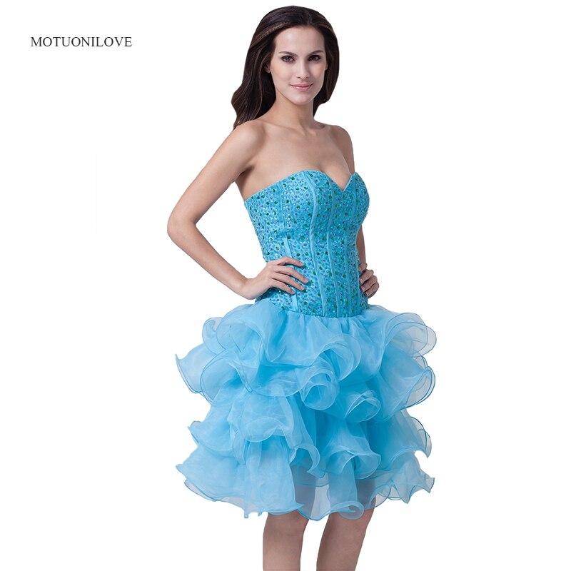 Bleu bretelles dames robes De soirée corsage perlé robes De Cocktail à volants robes De bal courtes robe formelle Vestido De Festa Curto