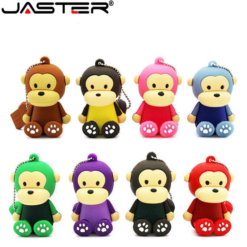 JASTER  The New Cute Monkey USB Flash Drive USB 2.0 Pen Drive Minions Memory Stick Pendrive 4GB 8GB 16GB 32GB 64GB Gift