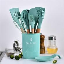 Set Utensil-Set Turner Cooking-Tools Tiffany Kitchen Spatel Silicone Wooden Green Koken