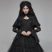 PUNK RAVE Women's Gothic Lace Cloak Shirt Fashion Lace Flare Sleeves Steampunk Retro Blouse Evening Party Women Gorgeous Shirts