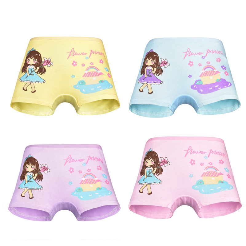 New arrived Girls Underwear Free Shipping Fashion Kids cotton character baby children panties short boxer 4pc  1-7year 2