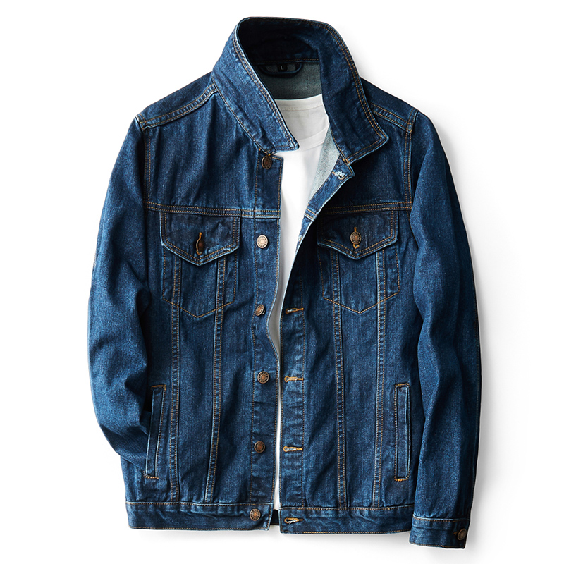 3XL 4XL 5XL Classic Men's Denim Jacket New Autumn Simple Jacket Stretch Blue Locomotive Hip Hop Casual Jacket Trend Denim Jacket