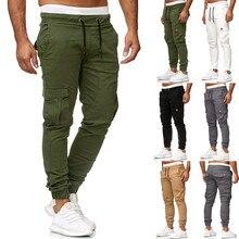 Elastic Waist Cargo Pants 2019 Men Casual Solid Long Sweatpants Slacks Male  Baggy Pockets Trousers L0829