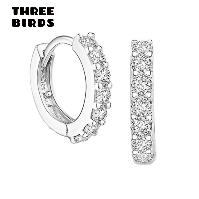Tiny Trendy Silver 925 Round Circle Hoop Earrings Full Crystal Zircon Earrings For Women Small Hoops Jewelry Orecchini Cerchio