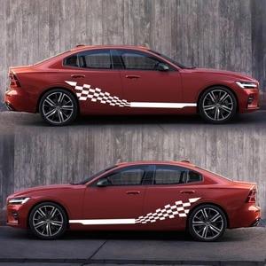 Image 2 - Voiture deux bandes latérales autocollants autocollants Auto vinyle graphiques drapeau à carreaux pour Automobiles camion SUV haute qualité voiture autocollants