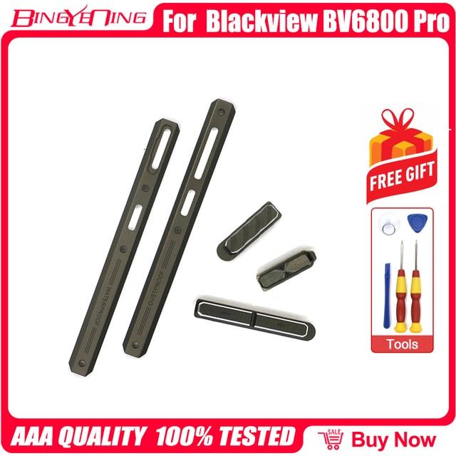Novo original de esquerda e direita peças decorativas + botão volume energia para blackview bv6800 pro bateria capa decoração peças de metal